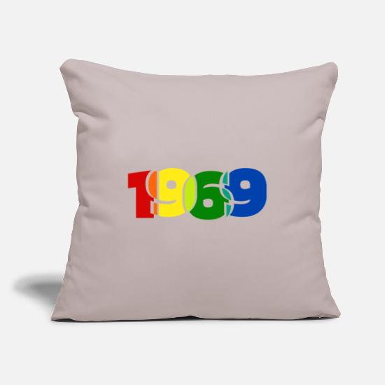 Birthday Pillow Cases - 1969 year of birth - Pillowcase 17,3'' x 17,3'' (45 x 45 cm) light taupe