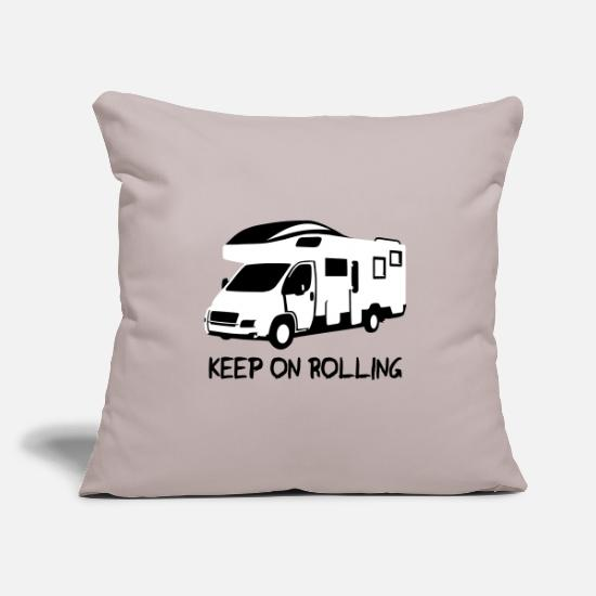 Tent Pillow Cases - Camper - keep on rolling - Pillowcase 17,3'' x 17,3'' (45 x 45 cm) light grey