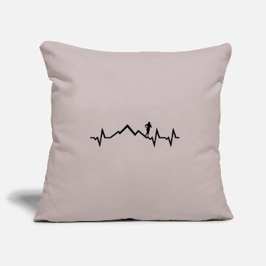 Mountain Running Mountain run heartbeat, running ECG - Pillowcase 17,3'' x 17,3'' (45 x 45 cm)