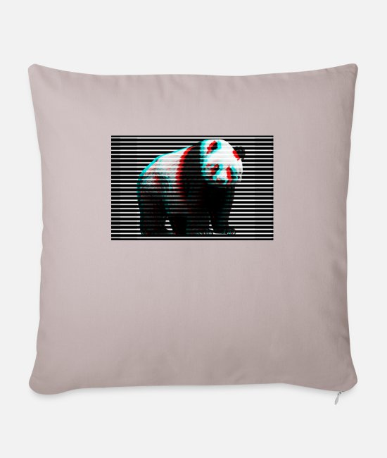 TV Pillow Cases - Panda Bear Glitch Style Glitch Effect Art Art - Pillowcase 17,3'' x 17,3'' (45 x 45 cm) light taupe