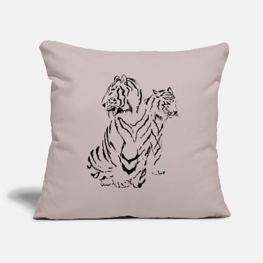 Stylized Two Tigers in China Ink - Pillowcase 17,3'' x 17,3'' (45 x 45 cm)