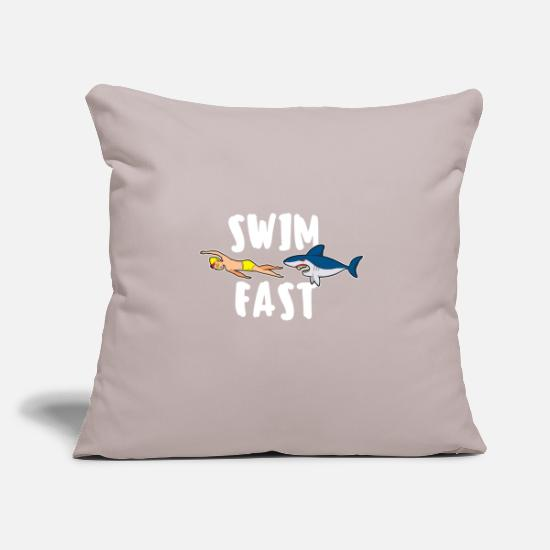 Swim Pillow Cases - Swim fast shark swim sayings float crawl - Pillowcase 17,3'' x 17,3'' (45 x 45 cm) light taupe