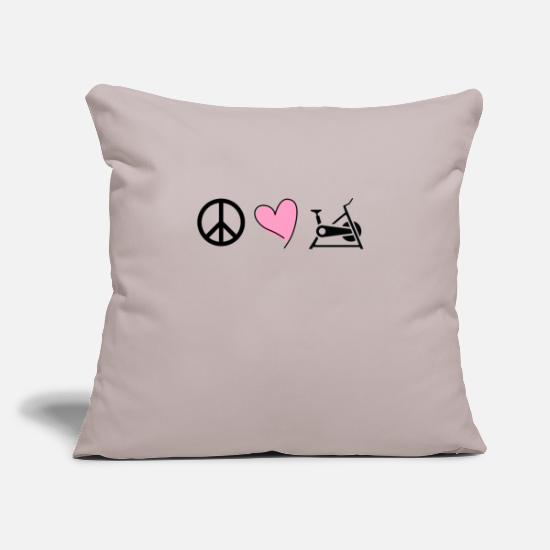 Bike Pillow Cases - Peace Love Cycle Stationary Bike Rider Workout - Pillowcase 17,3'' x 17,3'' (45 x 45 cm) light taupe