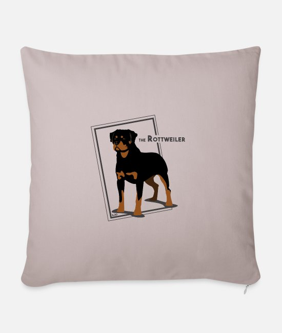 Purebred Dog Pillow Cases - The Rottweiler by IxCÖ - Pillowcase 17,3'' x 17,3'' (45 x 45 cm) light taupe