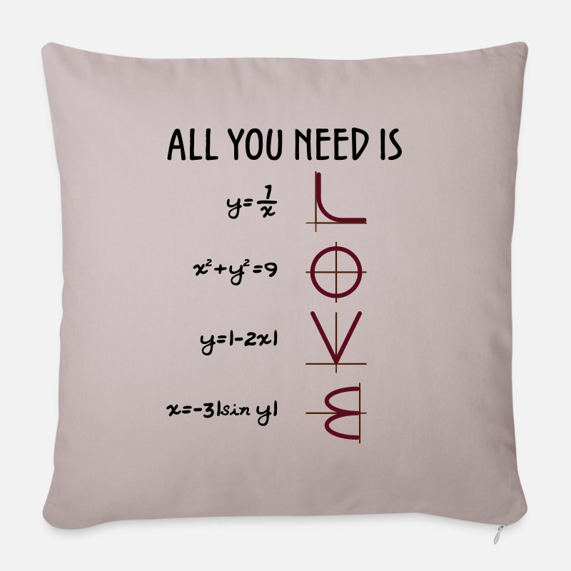 Day Pillow cases - All you need is Love (Equations) gift - Pillowcase 17,3'' x 17,3'' (45 x 45 cm) light grey