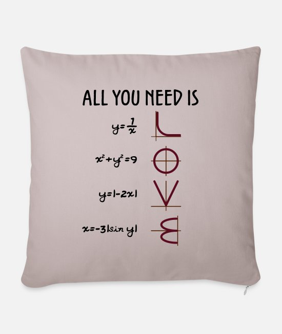 Professor Pillow Cases - All you need is Love (Equations) gift - Pillowcase 17,3'' x 17,3'' (45 x 45 cm) light taupe