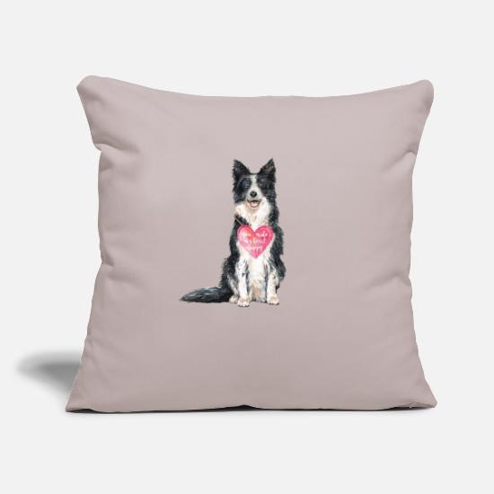Border Pillow Cases - Border Collie love grunge look - Pillowcase 17,3'' x 17,3'' (45 x 45 cm) light taupe