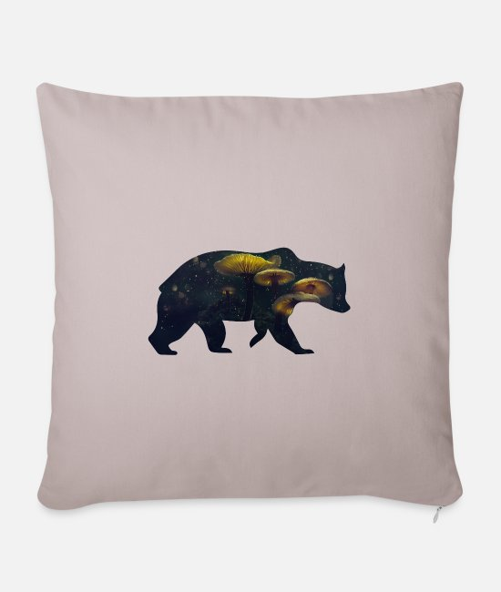 Nature Pillow Cases - Bear and Mushroom - Pillowcase 17,3'' x 17,3'' (45 x 45 cm) light taupe
