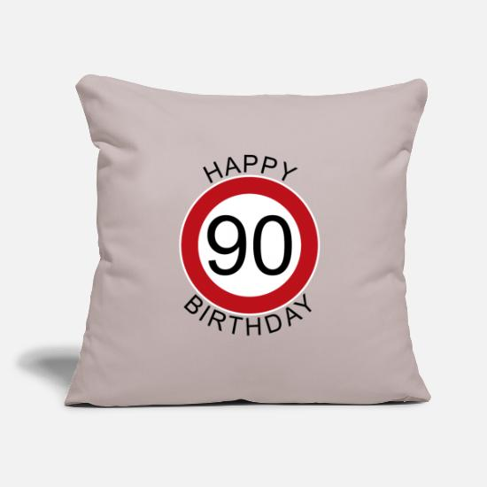 Birthday Pillow Cases - Happy Birthday 90 Verkehrsschild Schild Geburtstag - Pillowcase 17,3'' x 17,3'' (45 x 45 cm) light taupe