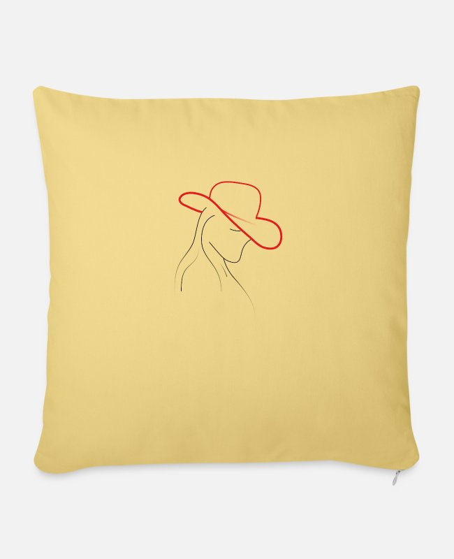 Wife Pillow Cases - Woman with hat - Pillowcase 17,3'' x 17,3'' (45 x 45 cm) washed yellow