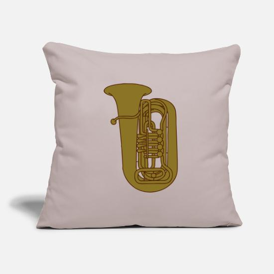 Brass Pillow Cases - TUBA brass 2 - Pillowcase 17,3'' x 17,3'' (45 x 45 cm) light taupe