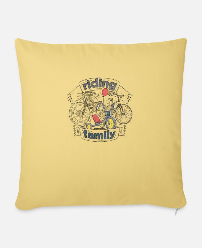 Bikes And Cars Collection Pillow Cases - riding family - Pillowcase 17,3'' x 17,3'' (45 x 45 cm) washed yellow