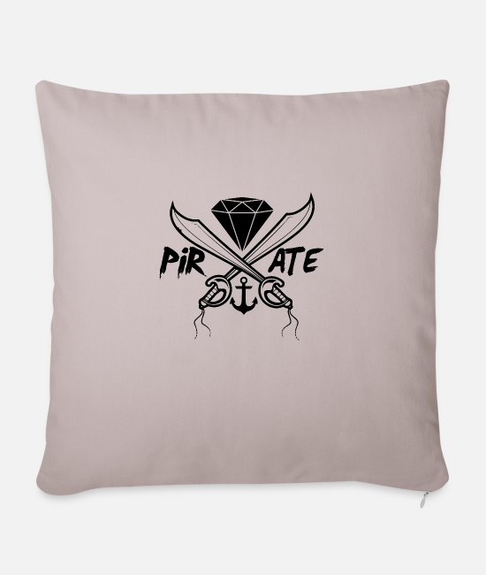 Pirate Pillow Cases - Pirate swords - Pillowcase 17,3'' x 17,3'' (45 x 45 cm) light taupe