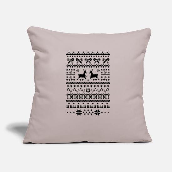 Reindeer Pillow Cases - christmas sweater reindeer - Pillowcase 17,3'' x 17,3'' (45 x 45 cm) light grey