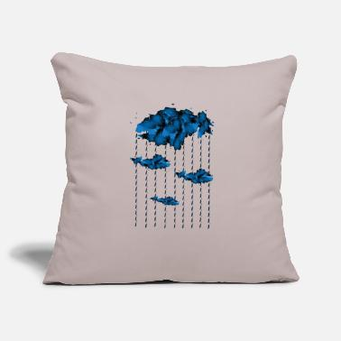 Blue watercolor rain drops - Pillowcase 17,3'' x 17,3'' (45 x 45 cm)