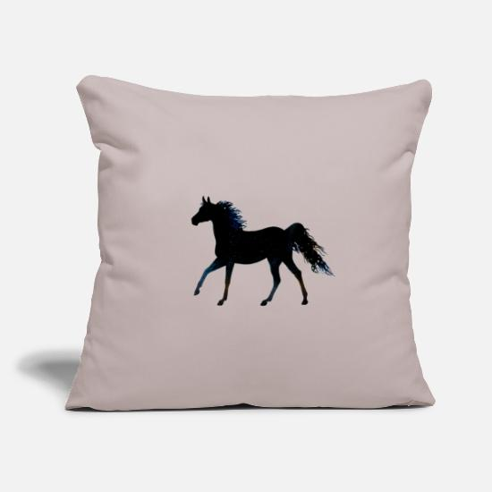 Horse Pillow Cases - Cute horse with blue mane - Pillowcase 17,3'' x 17,3'' (45 x 45 cm) light grey