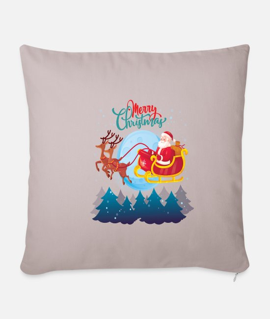 Christmas Pillow Cases - Santa on sledge - Pillowcase 17,3'' x 17,3'' (45 x 45 cm) light taupe