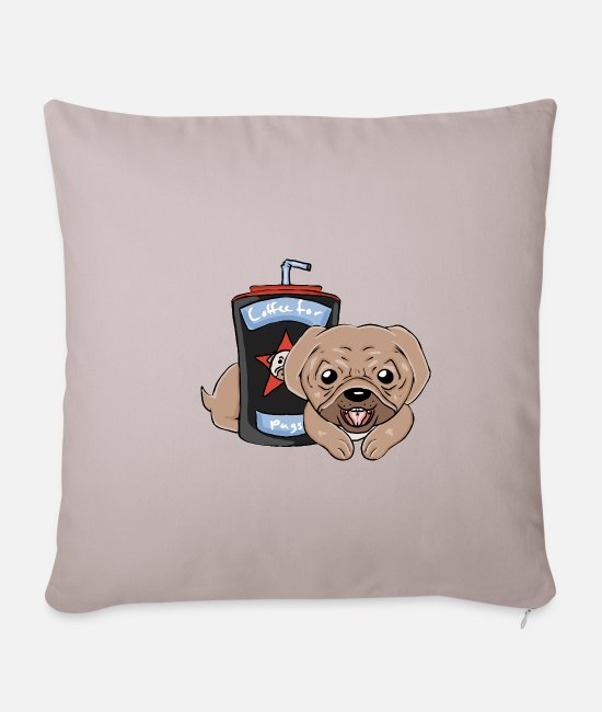 Doggie Pillow Cases - Pug - Pillowcase 17,3'' x 17,3'' (45 x 45 cm) light taupe