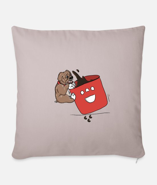 Heart Pillow Cases - Dog is drinking coffee - Pillowcase 17,3'' x 17,3'' (45 x 45 cm) light taupe