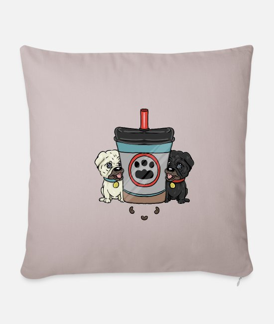 Heart Pillow Cases - Two Pugs One Cup - Pillowcase 17,3'' x 17,3'' (45 x 45 cm) light taupe