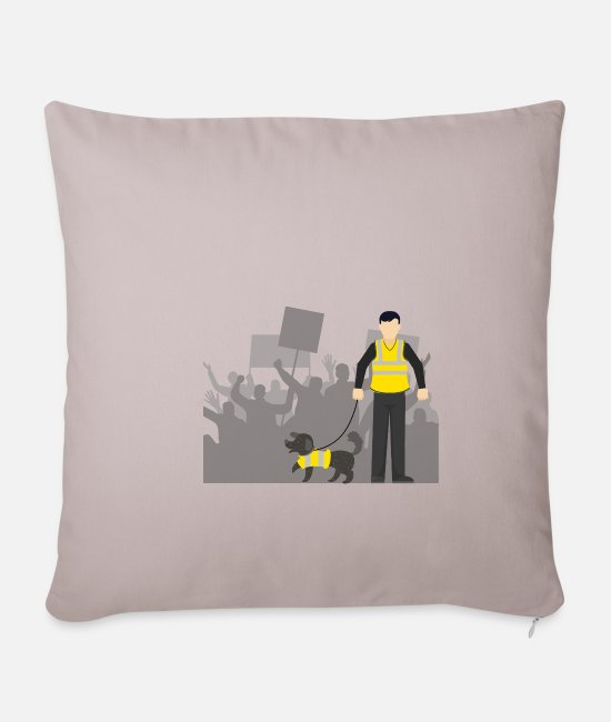 Protests Pillow Cases - Gilet Jaune protests in France - Pillowcase 17,3'' x 17,3'' (45 x 45 cm) light taupe