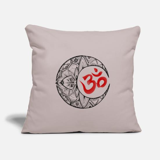 Spiritual Pillow Cases - Half moon om black red - Pillowcase 17,3'' x 17,3'' (45 x 45 cm) light grey