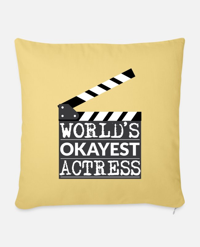 Hollywood Pillow Cases - Funny Actress Gift - World's Okayest Actress - Pillowcase 17,3'' x 17,3'' (45 x 45 cm) washed yellow