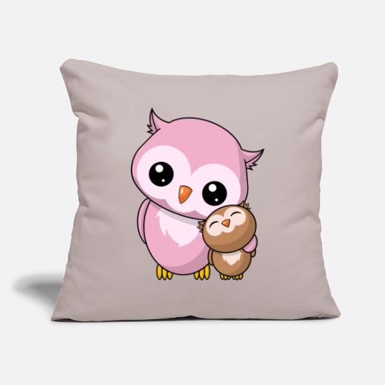 Siblings Pillow Cases - Owls siblings - Pillowcase 17,3'' x 17,3'' (45 x 45 cm) light taupe