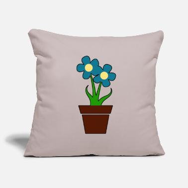 Flower Pot Potted flower blue gift idea - Pillowcase 17,3'' x 17,3'' (45 x 45 cm)
