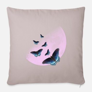 Pink moon with butterflies - Pillowcase 17,3'' x 17,3'' (45 x 45 cm)