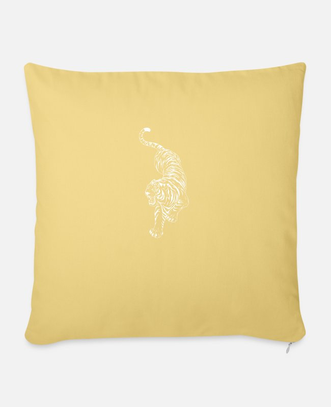 Wild Cat Pillow Cases - 'White Tiger - Pillowcase 17,3'' x 17,3'' (45 x 45 cm) washed yellow