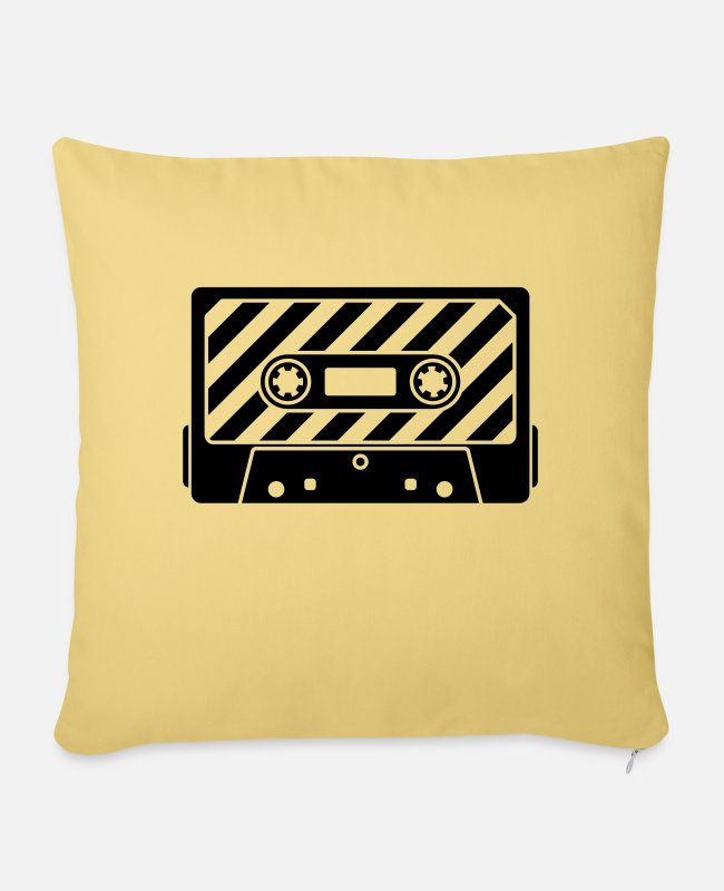 Play Pillow Cases - Audio Tape - Music Cassette - Pillowcase 17,3'' x 17,3'' (45 x 45 cm) washed yellow