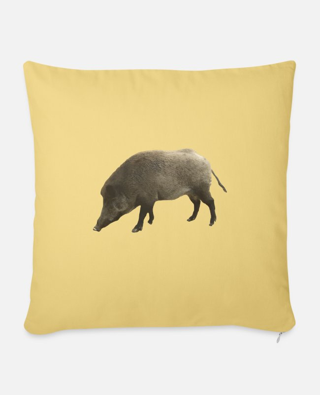 Homeland Pillow Cases - wild boar - Pillowcase 17,3'' x 17,3'' (45 x 45 cm) washed yellow