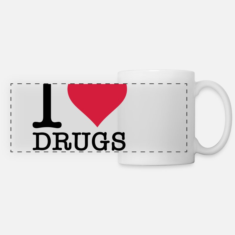 Cocaine Tank Mugs & Drinkware - I love drugs! - Panoramic Mug white