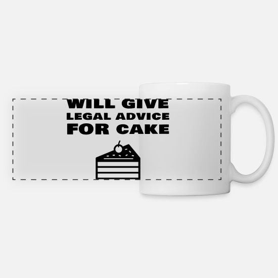 Legal Mugs & Drinkware - Will Give Legal Advice For Cake Law Lawyer Judge - Panoramic Mug white