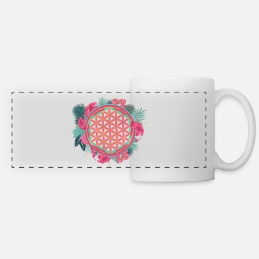 Tropical Flowers Flower of life with tropical flower wreath - Panoramic Mug