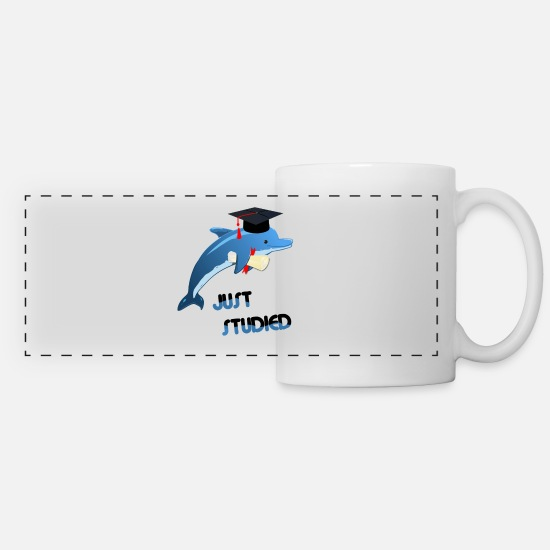 Uni Mugs & Drinkware - Smart dolphin with diploma after graduation - Panoramic Mug white