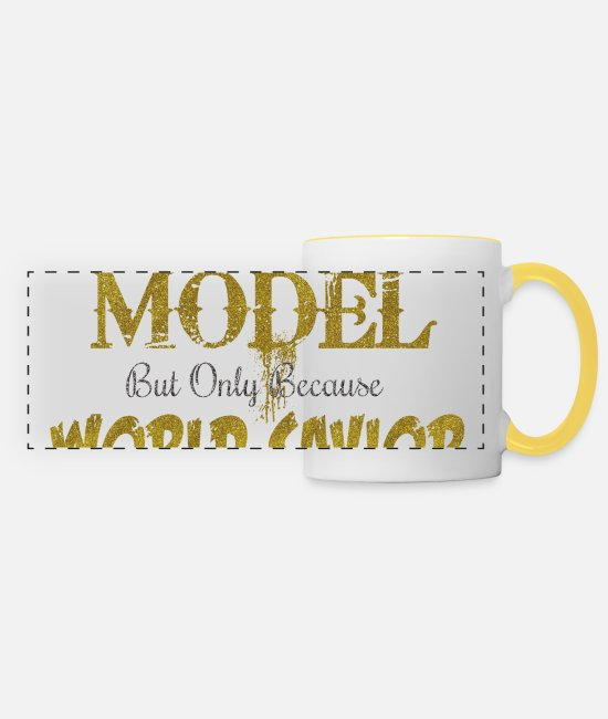 Bombshell Mugs & Drinkware - Model World Savior - Panoramic Mug white/yellow