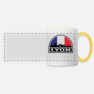 Lyon Lyon France Skyline Silhouette French Flag Travel - Panoramic Mug