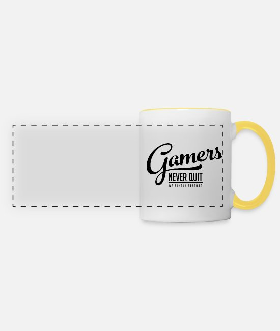 Side Mugs & Drinkware - Gamblers do not give up on reboot black funny - Panoramic Mug white/yellow