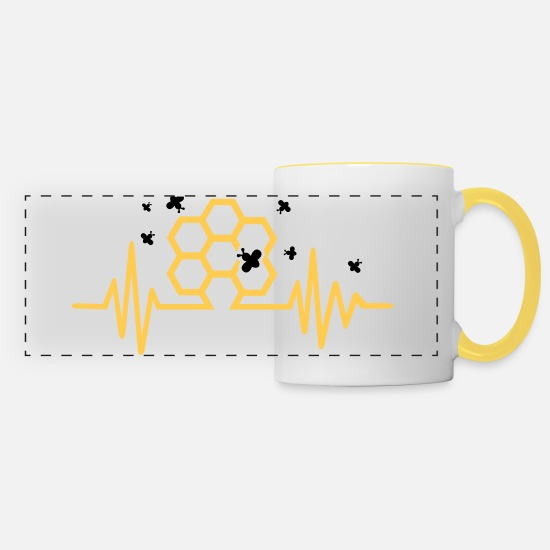Bee Mugs & Drinkware - Honeycomb - Panoramic Mug white/yellow