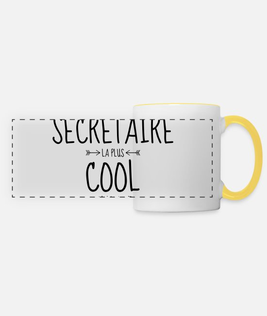 Office Mugs & Drinkware - Secretary Sekretärin Secrétaire Secretariat Boss - Panoramic Mug white/yellow