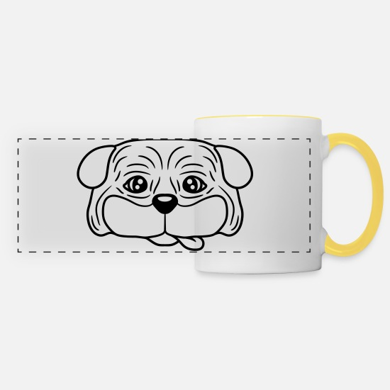 Small Mugs & Drinkware - head face pug small fat dog puppy cute cute pet co - Panoramic Mug white/yellow