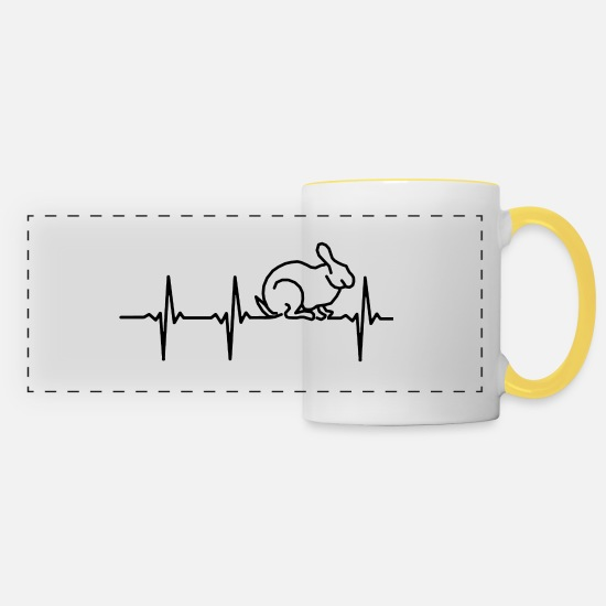 Lust Mugs & Drinkware - My heart beats for rabbits - Panoramic Mug white/yellow