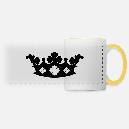 King Mugs & Drinkware - Crown - Panoramic Mug white/yellow
