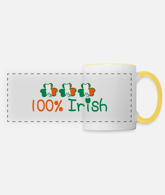 I Want To Marry Irish I Want To Have A Irish Girlfriend Irish Boyfriend Irish Husband Irish Wife Iri Mugs & Drinkware - ♥ټ☘Kiss Me I'm 100% Irish-Irish Rule☘ټ♥ - Panoramic Mug white/yellow