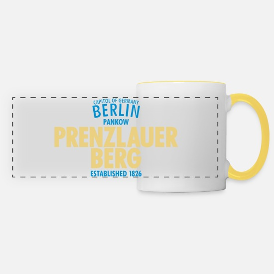 Pankow Mugs & Drinkware - Capitol Of Germany Berlin - Prenzlauer Berg - Panoramic Mug white/yellow