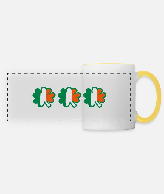 Best Awesome Superb Cool Amazing Identity Ethnicity Race People Language Country Design Mugs & Drinkware - ♥ټ☘Kiss the Irish Shamrocks to Get Lucky☘ټ♥ - Panoramic Mug white/yellow