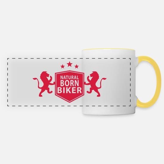 Racing Mugs & Drinkware - natural_born_biker - Panoramic Mug white/yellow