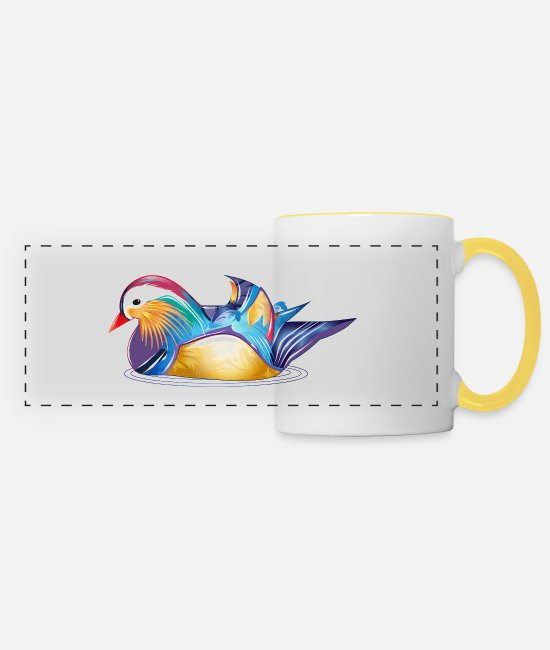Ornamental Duck Mugs & Drinkware - Hand drawn mandarin duck in the water - Panoramic Mug white/yellow
